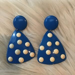 Vintage 80s Blue & White Polka Dot Enamel Earrings